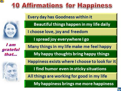 10 Happiness Affirmations, emfographics, emotional infographics