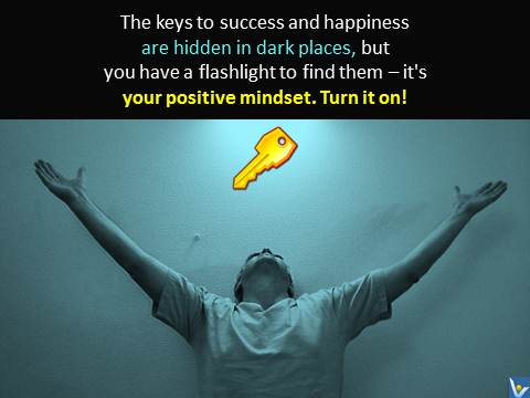 Positive Mindset - light to find keys to success and happiness, emfographics, emotional infographics, Vadim Kotelnikov